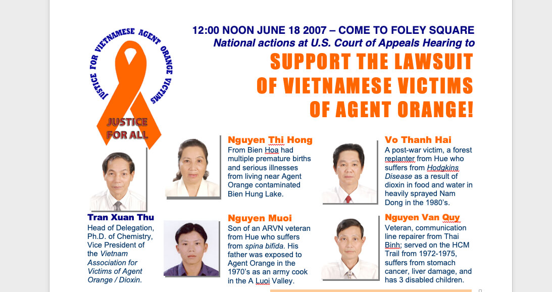 June 2007 Actions to Support the Lawsuit of Vietnamese Victims of Agent Orange; Leaflets
